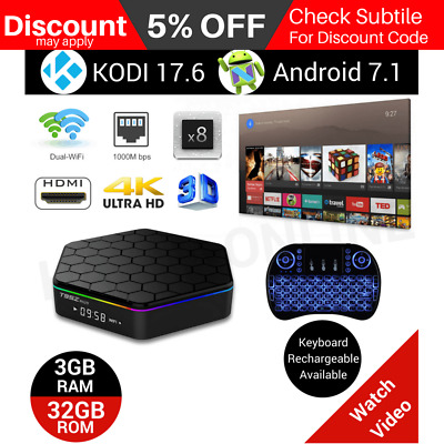 T95Z PLUS TV BOX Android 7.1 Octa Core KODI 17.6 4K Smart Media Player WIFI 3+32