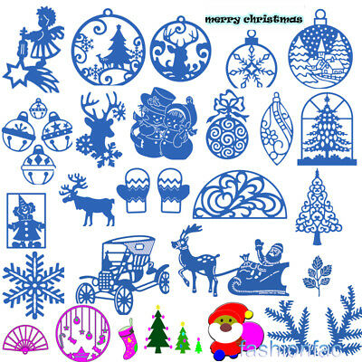 Christmas Silver Metal Cutting Dies Stencils Scrapbooking Embossing DIY Crafts
