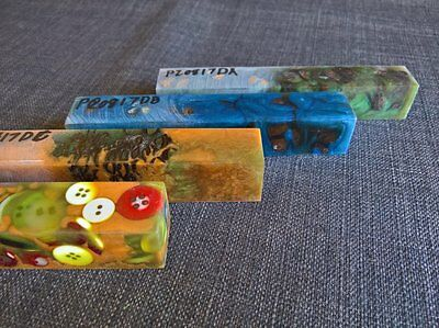 mixed lot Pen Blanks blue green orange banksia button turning stabilized resin