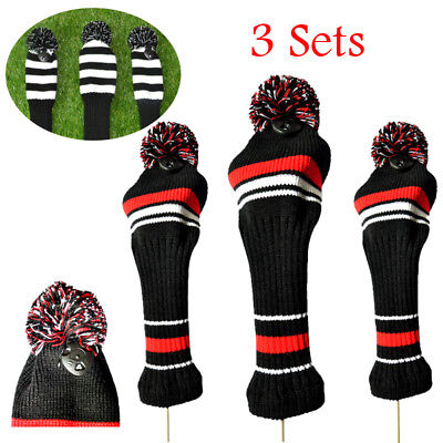 3 Sets Golf Club Wool Knitted Premium Head cover Headcover Head Covers Sock