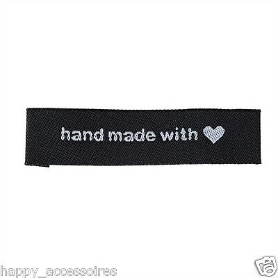 50 Label Etiketten Applikationen - Handmade Hand Made with ❤ - Schwarz - NEU