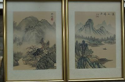 2 Vintage Chinese Silk Paintings pair - Landscape and figures - framed