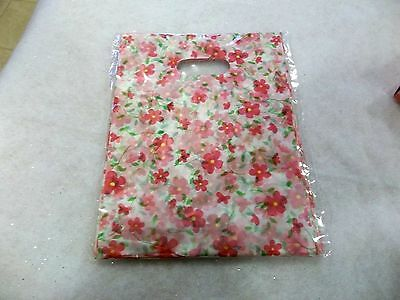 "100 Pc.Pink Floral Design Plastic Gift Bags,  6"" x 7.75"",  NEW"