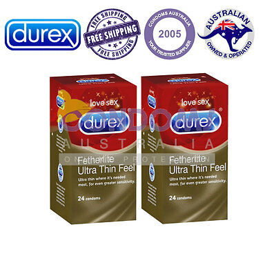 Durex Fetherlite Ultra Thin Condoms (24 Condoms) FREE SHIPPING TWIN PACK