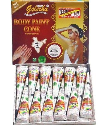 Golecha White Henna Gel Paste Cones Mehndi Mendi Body Tattoo UK Stock Genuine