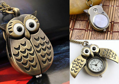 Owl Statement pocket watch Pendant Necklace New necklace Fashion Chain Vintage