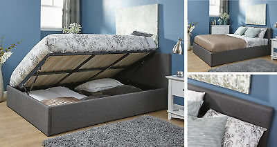 Grey Fabric Side Lift Ottoman Gas Lift Bed Built-in Storage- 3ft, 4ft, 4ft6, 5ft