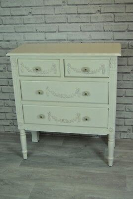 Chest of Drawer Antique White Ornate French style 4 drawer Chest of Drawers