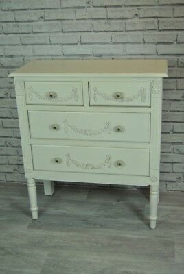Chest of Drawers Antique White Ornate Rose Swag Detail Distressed 4 drawer
