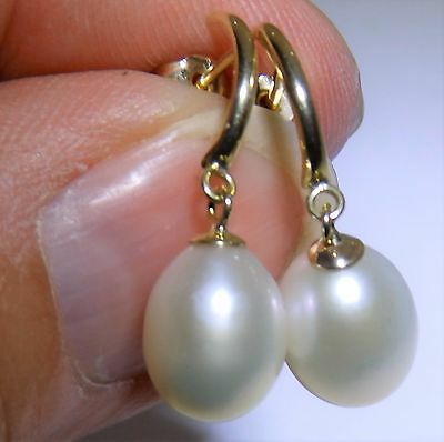 A Fine Pair Of 9Ct Yellow Gold Pearl Dropper Drop  Stud Earrings