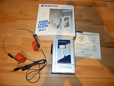 SANYO Stereo Cassette Player M-G7 NEW IN BOX vintage 1980's walkman 1984