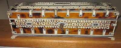 19C Anglo Indian Vizagapatam Bone And Shell Glove Box Excellent Condition