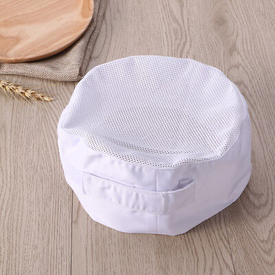 White Chef Beanie Skull Cap Hat Cook Cap With Top Mesh Adjustable Strap