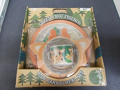 NEW Bamboo Meal Kid's Dishes Set - Green Frog Friends - Baby Deer -Free Shipping