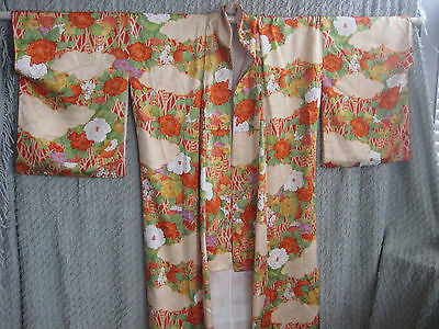 Vintage Floral Kimono in Oranges, Yellows, Greens Lined