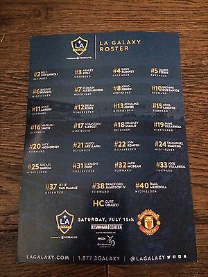 La Galaxy V Manchester United- Small Two Sided Roster Sheet-  15 July 2017