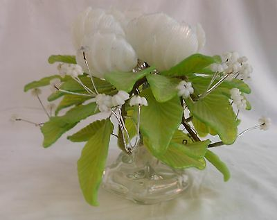 Victorian Opaque Glass Peony W/ Leaves & Tiny Flowers Wired On Stand