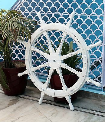 "36"" Antique White Large Nautical Handcrafted Wooden Ship Wheel - Home Wall Decor"