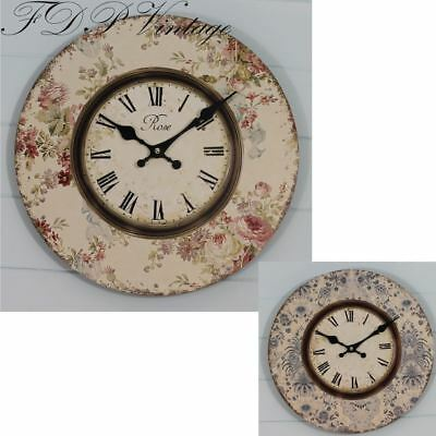 Pretty Rose Floral Print Shabby Chic Clock | Pink or Blue 34cm