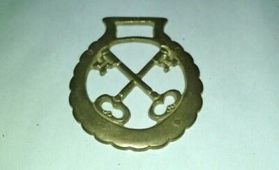 Vintage Brass Horse Bridle Medallion Crossing Keys Skeleton Keys Tack Equestrian