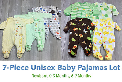 Lot of 7 Baby Unisex Pajamas Footed Sleepers Bodysuits Newborn 0-3 & 6-9 Months