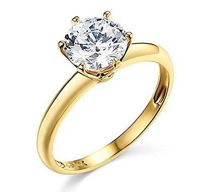 2 Ct Round Cut Solitaire Engagement Wedding Promise Ring Solid 14K Yellow Gold