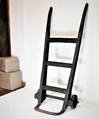 Antique Wood & Iron 2 Wheel Industrial Hand Cart, Truck, Dolly Great Dark Patina