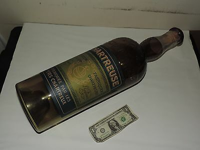 """Store Display Chartreuse Bottle Vintage Green Glass w/ Label RARE 23"""" empty"""