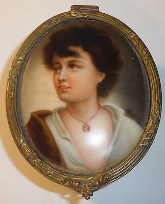 Vintage Antique French Gilt Bronze Signed Painted Miniature Portrait Trinket Box