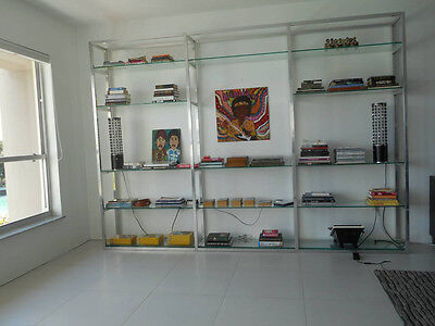 Mid Century Modern Chrome and Glass Wall Unit