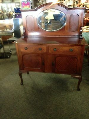 1900's QUEEN ANNE WALNUT SIDEBOARD-SERVER
