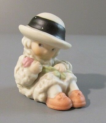 "1998 Enesco Pretty as a Picture ""Girl Holding Long Rose"" Mini Figurine #48751"