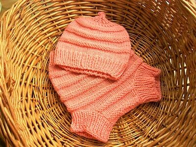 Hand Knitted Handmade Wool Diaper Cover with matching Hat size Medium