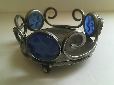 Antique/vintage Cast Iron Circular Candy Fruit Dish Plate Blue Glass India Made