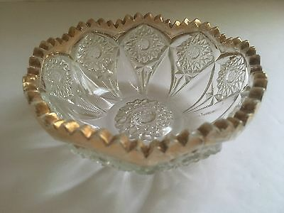 Antique/vintage Set Of 4 Glass Decorative Candy Dish Bowls Gold Teeth Ridge Rim