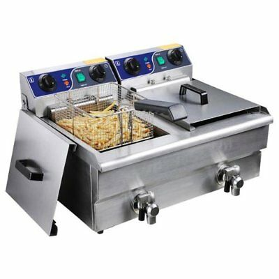 Commercial Deep Fryer: Stainless Steel Electric Counter Top Fryer with Drain