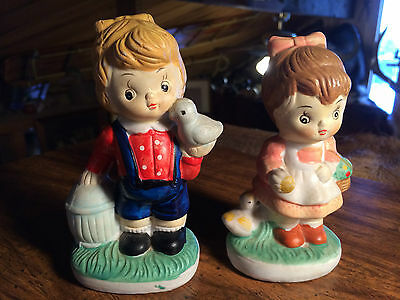 Lot of 2 Ceramic Boy and Girl Figurines