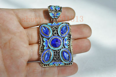 Decorated Old Handwork Miao Silver Carving Inlay Zircon Pendant