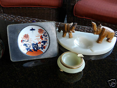 Lot Of 3 Vintage Carved Alabaster Elephant Ashtray Marble Japanese Ashtray Lot