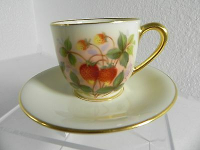 Lenox USA China 312 Demitasse Cup/Saucer hand painted Strawberry Jan Nosek Minty