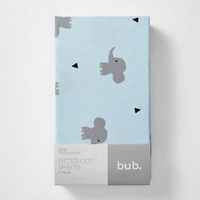 NEW 2 Pack Fitted Cot Sheets - Charlie