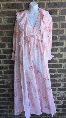 Vintage Christian Dior Night Gown Robe Set Floral Lace Peach Size Small