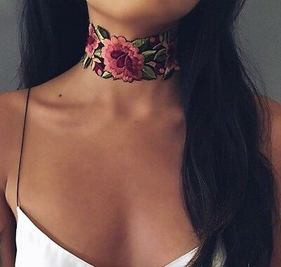 Pink & Red Rose Floral Embroidered Band Choker, Boho Hippie Collar Necklace
