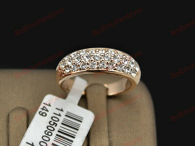 18K Rose gold 0.6 ct Round cut Diamond Thick Half Eternity Ring FREE PP