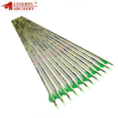 """12pc Spine400 30"""" Camo Pure Carbon Arrows ID6.2mm od7.6mm RING NockS hunting new"""