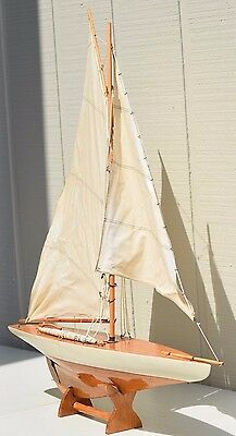 Vintage Large Sailboat Yacht Wooden Model Ship Pond Boat Nautical Decor Stand