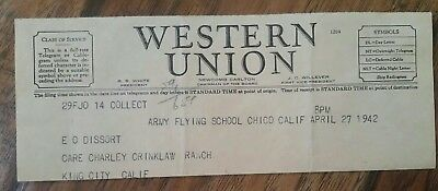 WWII Western Union TELEGRAM From Army Flying School - Father died - Coming Home!
