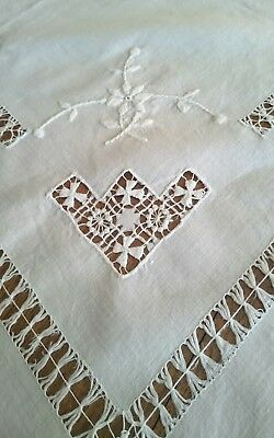 Vintage Pure Linen Drawnthread and Embroidered Suppercloth