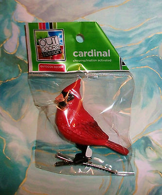 """Motion Activated Chirping Singing Cardinal Red Bird Clip-on Ornament 3"""" NIP"""