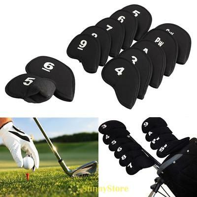 10pcs Neoprene Golf Club Iron Putter Headcovers Cover Protect Case Set Fit Black